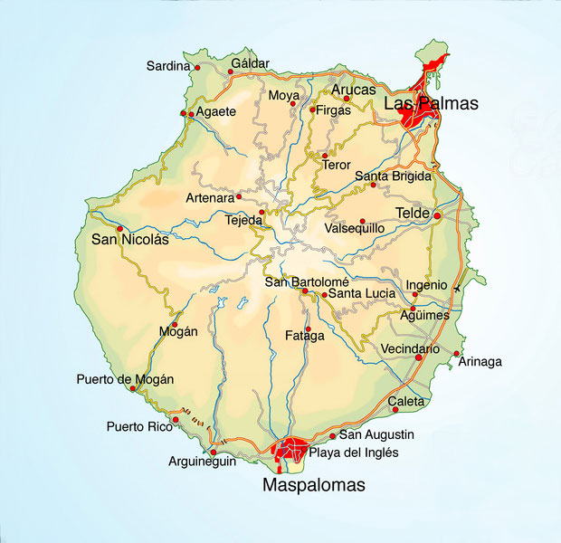 Gran Canaria Karte Gran Canaria Beaches